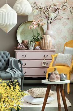 trend 2014 would have to remove the yellow chair, but otherwise love the colours. Colorful Furniture, Home Decor Furniture, Painted Furniture, Furniture Inspiration, Interior Inspiration, Home And Deco, Dresser As Nightstand, Cozy House, Office Decor
