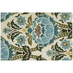 Dining room rug??   Amy Butler Ivory Floral Hand-tufted New Zealand Wool Rug (7'9 x 10'6)