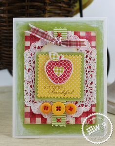 Dawn Woleslagle for Wplus9 featuring Pretty Patches: Apple stamp set and die, Country Charm stamp set, and Clear Cut Stackers: Pinking Squares die.