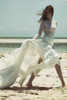 george wu bridal 2015 wulfilas message elven star long sleeve dress and overskirt #weddingdress