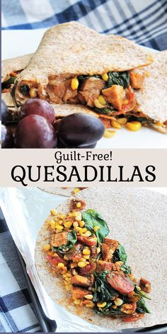 Stuffed with vegetables, your favorite protein, and cheese on a wheat tortilla. Delicious! Mexican Food Recipes, My Recipes, Ethnic Recipes, Guilt Free, Quesadilla, Protein, Cheese, Baking, Vegetables