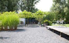 Design tuin met halfverharding. Grote schaduwzitplek onder dakplatanen. Verhoogde vlonder om te kunnen zonnen/loungen. Houtopslagplaats van zwarte vurenhouten speciale planken.