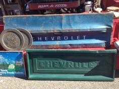 Chevy tailgate! I hope I find one of these I really want to make a bench!!!