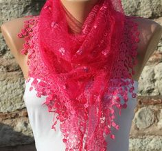 Women Shawl Scarf  Cowl Scarf Lace Scarf  Pink by fatwoman on Etsy, $19.00