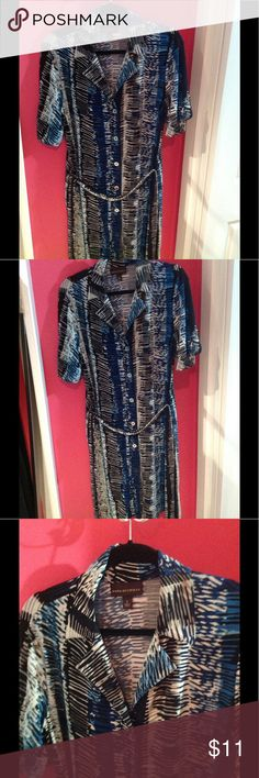 """Snakeskin inspired print button front dress Beautiful snake skin like pattern button front dress.  Gorgeous blues, Greta, black and white colors.  Dress features 7 functioning silver buttons down the front.  Open a few to show off those gorgeous legs! Sleeves features cuffs with coordinating buttons.  Tie belt included.  39"""" long from center back.  Bust is 38"""". 95% poly 5% span for easy wear and care. Dana Buchman Dresses"""