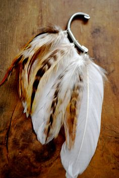 White Willow Feather Ear Cuff made with goose feathers from Etsy