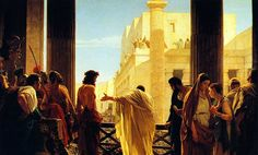 """Ecce Homo"" (behold the man), by Antonio Ciseri, 1871    When morning came, all the chief priests and the elders of the people conferred together against Jesus in order to bring about his death. They bound him, led him away, and handed him over to Pilate the governor (Matthew 27:1-2)."