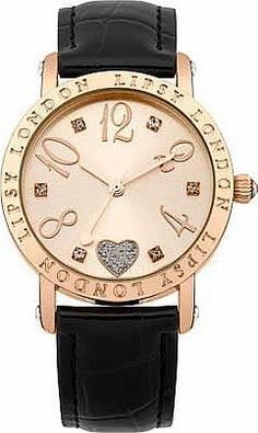 b11eadb6 Lipsy Ladies Gold Black Strap Watch This black strap watch is an ideal  everyday timepiece from