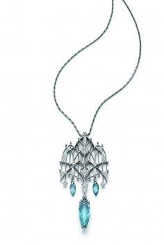 """Lilian"" platinum, aquamarine and diamond #necklace, Ehinger-Schwarz"