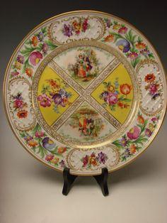Antique Schumann Dresden German Porcelain Yellow Flowers Dinner Plates SET