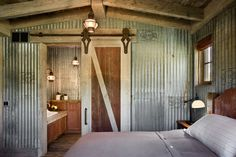 Tin walls - Rustic decor and repurposed elements are hot in 2014 western decorating. Rustic bedroom by Roger Wade Studio. Mobile Home Living, Home And Living, Diy Home Decor Rustic, Tin Walls, Western Homes, Metal Homes, Design Case, My New Room, Home Improvement Projects