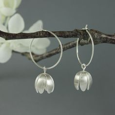 Handmade Silver Crocus Hoop Earrings, on sprung silver hoops, satin texture Handmade Silver Jewellery, White Gold Jewelry, Metal Jewelry, Earrings Handmade, Jewellery Box, Diamond Jewelry, Handmade Headbands, Handmade Soaps, Handmade Rugs