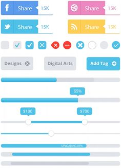 Social Media Share Buttons Sliders Controls Knobs Checkboxes Radio Progress