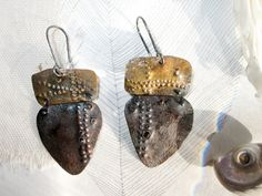 Petal Earrings-Wearable Art Hinge Earrings Rustic Tribal
