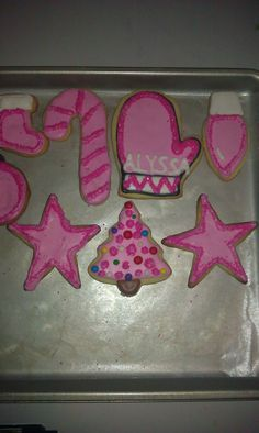 Sugar Cookies decorated with Royal Icing.  My Pink Collection inspired by Alyssa, my Granddaughter! For Christmas!!!