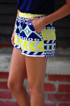 #tribal print shorts #bright colors