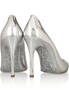 So fun! Miu Miu|Glitter-soled mirrored-leather pumps|NET-A-PORTER.COM