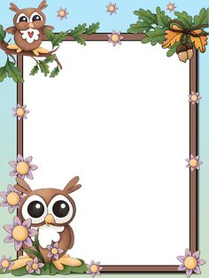 I love owls Page Borders Design, Border Design, Molduras Vintage, Kindergarten Coloring Pages, Boarders And Frames, Owl Clip Art, Owl Classroom, School Frame, Kids Background