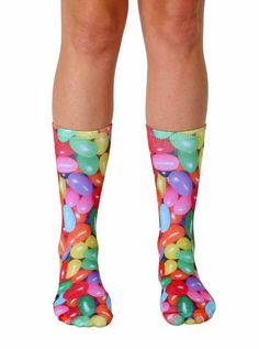 """What's your favorite flavor jelly bean? *UNISEX *100% POLYESTER *MADE IN THE USA *ONE SIZE FITS MOST *WOMEN'S SHOE SIZE 4-12 *MENS SHOE SIZE 6-13 *13"""" L X 4"""" W"""