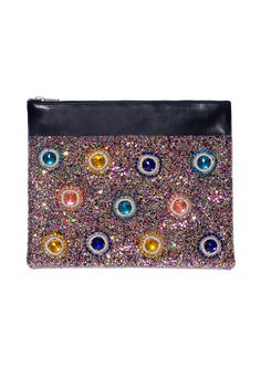 Glitter Leather Clutch Bag – House of Holland