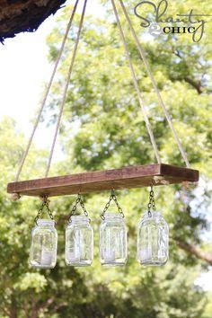 Outdoor DIY Mason Jars Chandelier