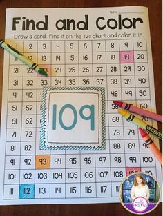 Students find a number on the 120 chart and color it. Would be great in a math station or for morning work! 100 hundreds chart