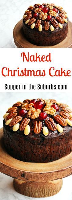 Hate royal icing, dreading decorating your Christmas Cake? Then you need to make my Naked Christmas Cake with glazed nuts and cherries. Christmas Cake Decorations, Christmas Desserts, Christmas Baking, Easy Desserts, Dessert Recipes, Christmas Recipes, Xmas Food, Merry Christmas, Christmas Lunch