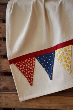 Items similar to Bunting Tea Towel - Red Yellow Blue - Kitchen Dish Towel on Etsy