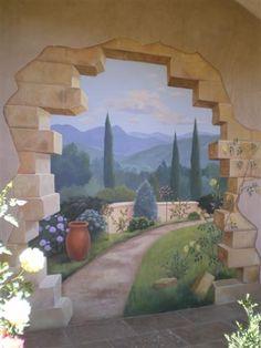 trompe l'oeil murals - garden - Google Search Murals Street Art, Ceiling Murals, Mural Wall Art, Painting Wallpaper, Mural Painting, Paintings, Printed Glass Splashbacks, Garden Mural, Faux Painting