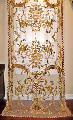 ITALIAN EMBROIDERED Velvet Fabric SHEER Drapes by elegantfabrics1
