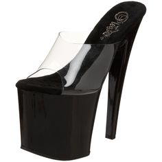 Pleaser Women's Taboo-701CB Platform Sandal,Black Patent,5 M US. You're shockingly sassy in the Taboo sandal from Pleaser. This wildly sensuous shoe features a transparent upper that shows it all off atop a bordering-on-dangerous glossy platform and super-high heel that leave you towering over the competition.