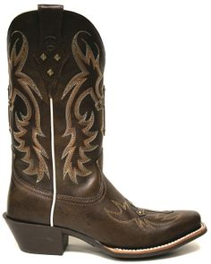 Ariat Women's Legend Spirit Cowgirl Boots w/ Cross Embroidery -- Walk down the aisle in these classic chocolate brown leather cowgirl boots, and your day is sure to go exactly how you've always dreamed. | SouthTexasTack.com