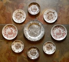 Mix & Match Set of 9 Vintage Brown Toile Transferware Plates - Instant Wall Display Collection - Wall Hanging