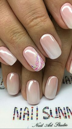 Try some of these designs and give your nails a quick makeover, gallery of unique nail art designs for any season. The best images and creative ideas for your nails. Mauve Nails, Glitter Nails, Spring Nails, Summer Nails, Hair And Nails, My Nails, Nails Factory, Feather Nails, Nagellack Trends