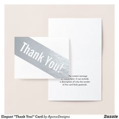 """Shop Elegant """"Thank You!"""" Card created by AponxDesigns. Thank You Greeting Cards, Thank You Greetings, Custom Thank You Cards, Paper Envelopes, White Envelopes, Appreciation Cards, Colored Paper, Place Card Holders, Cards Against Humanity"""