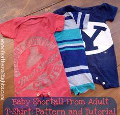大人のTシャツからリメイクする、赤ちゃん用のショートオールの作り方です。 作り方とフリーでパターン(型)も公開…