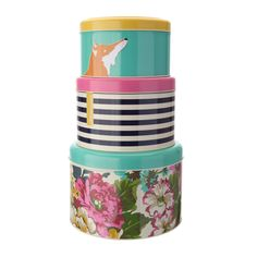 Help your mum keep her cakes stored away in style with these stacking tins by Joules.