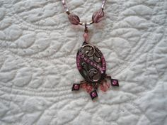 Light and Dark Pink Glass and Crystal Pendant set by LandofBridget, $10.00  and more items on facebook @ The Land of Bridget