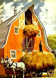 Old Barn. Hoisting the hay into the Hay Loft