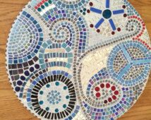 """Handmade Mosaic Wall Art 18 1/2"""" Round, Let There Be Peace - Shimmering Shades…"""
