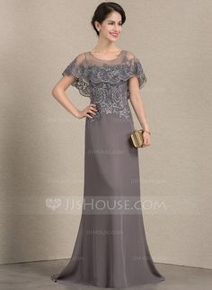 A-Line/Princess Scoop Neck Sweep Train Chiffon Lace Mother of the Bride Dress - Mother of the Bride Dresses - JJsHouse Lace Evening Dresses, Elegant Dresses, Nice Dresses, Formal Dresses, Elegant Clothing, Mother Of The Bride Dresses Long, Mothers Dresses, Wedding Party Dresses, Bridesmaid Dresses