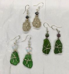 Sea GlassEarrings, Hawaii sea glass,  hand assembled jewelry, Gayla Brown, Wire wrapped sea glass, Glass Earrings, Sea Glass Jewelry, Drop Earrings, Jewelry Stores Near Me, 3 Shop, Beautiful Earrings, Bangles, Creative People, Chain