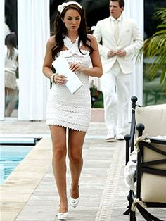 Gossip Girl Season Two: Get the Look  201: Summer, Kind of Wonderful  Blair, appropriately attired for the white party, wears a Marc by Marc Jacobs dress, Jennifer Behr headband and Chloe shoes.