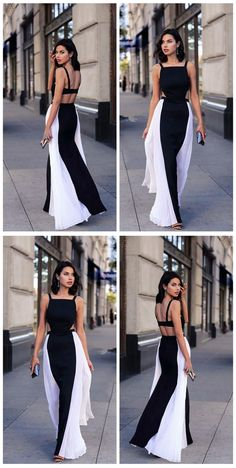 21c307fdc42 Sexy Long Splice White and Black Casual Party Dresses