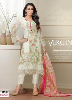 Buy White Embroidered Designer Suits Online at
