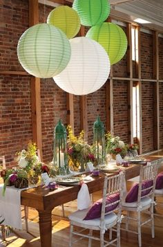 Great lanterns and tablescape.