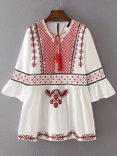 Shop White Embroidery Bell Sleeve Dress With Tassel Tie online. SheIn offers White Embroidery Bell Sleeve Dress With Tassel Tie & more to fit your fashionable needs. Embroidery Fashion, Embroidery Dress, White Embroidery, Black Long Sleeve Dress, Bell Sleeve Dress, Indian Designer Outfits, Designer Dresses, Stylish Dresses For Girls, Short Mini Dress