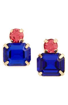Two beaming crystals in sapphire and rose stack up to one pretty pair of earrings.