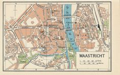 1961 Maastricht Netherlands Holland Vintage Map by City Maps, Antique Maps, Guide Book, Vintage Prints, Custom Framing, Holland, City Photo, Antiques, Places
