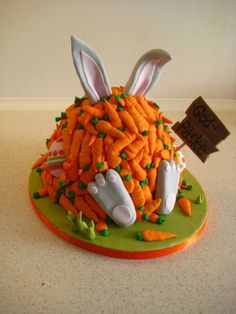 Easter Cake with bunny buried in carrots. Maybe for next year. We already made a bunny butt cake for this year.